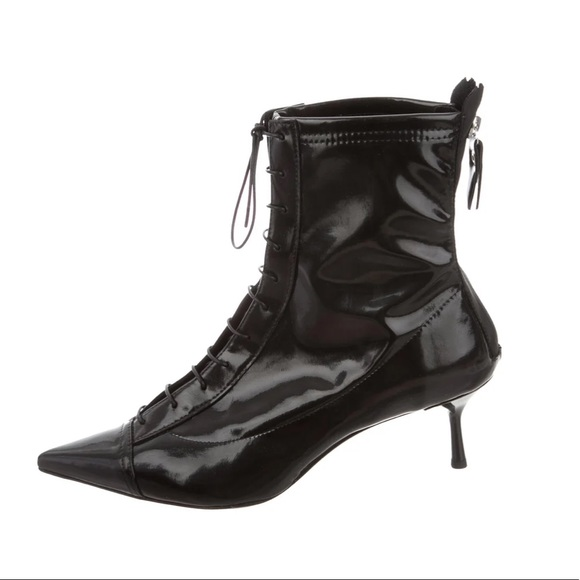 AGL Patent Leather Pointed-Toe Lace-Up Booties
